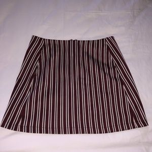 Red and white stripe skirt